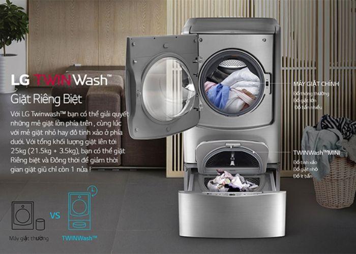 Thiết kế khác biệt với 2 lồng giặt có thể giặt song song cùng lúc