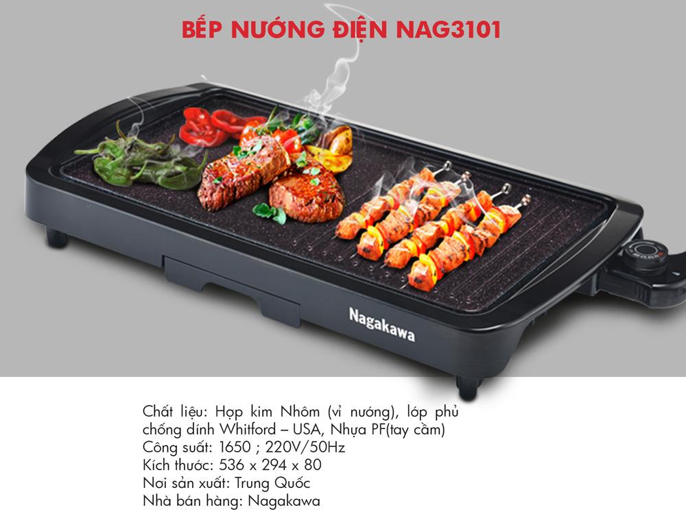 Bếp nướng điện không khói Nagakawa NAG3101