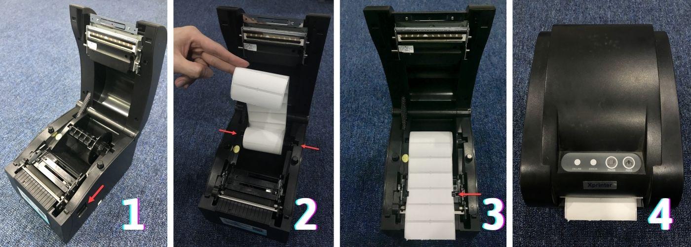 Cách lắp giấy vào máy in mã vạch Xprinter XP-250B