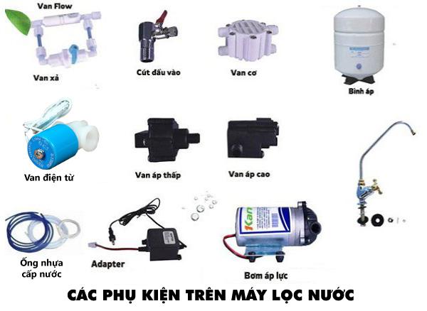 Các loại phụ kiện trên máy lọc nước