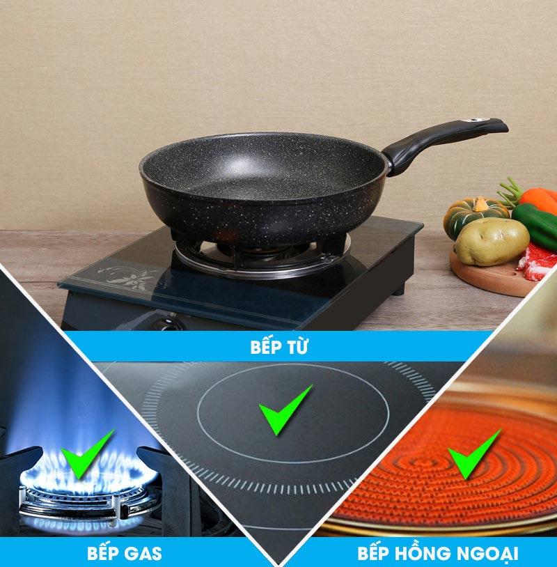 Chảo chống dính vân đá dùng được cho mọi loại bếp