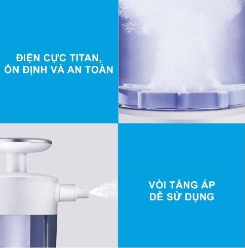 Bình điện phân phun sương diệt khuẩn Ultty SKJ-CRS01 có điện cực titan bền bỉ.