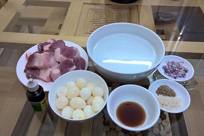 Nguyên liệu làm thịt kho trứng cút