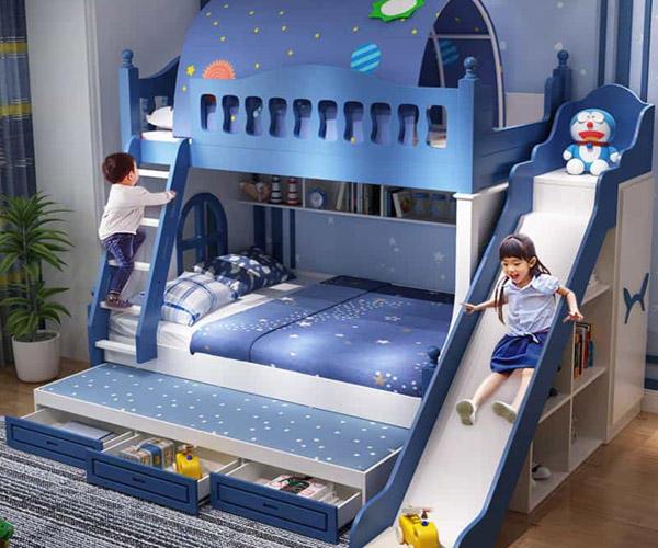 Top giường tầng có cầu trượt cho bé