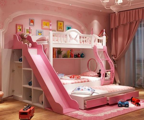 Giường tầng có cầu trượt dành cho bé gái