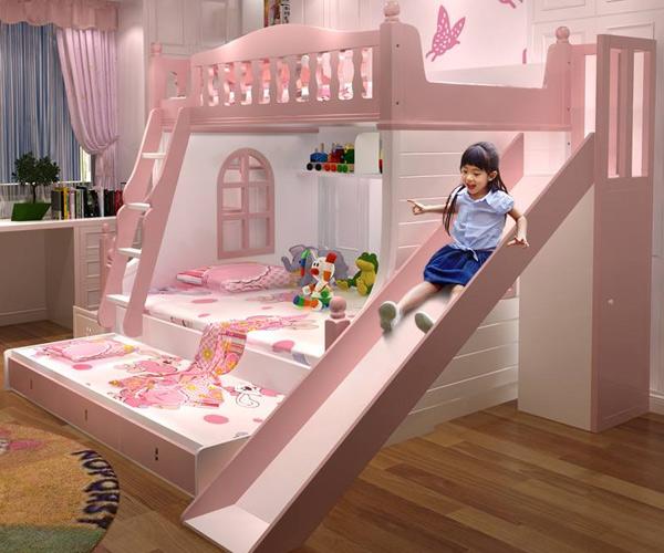 Tham khảo mẫu giường tầng có cầu trượt cho bé gái