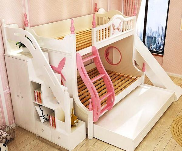 Mẫu giường tầng kèm tủ cho bé gái