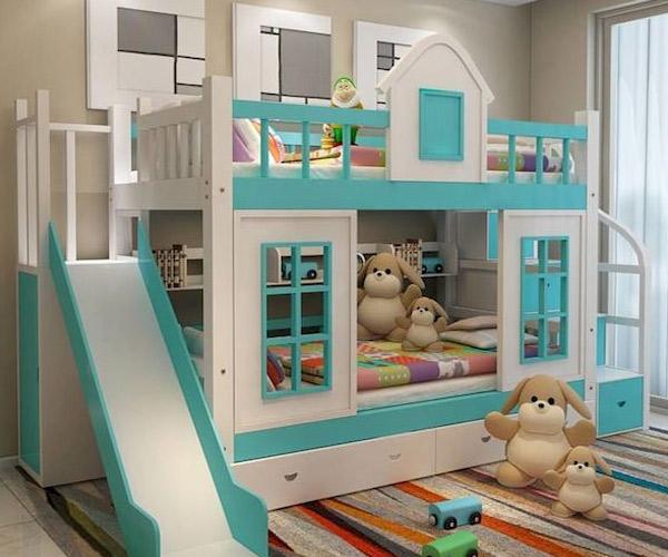 Tham khảo một số mẫu giường tầng có cầu trượt kèm tủ đựng đồ