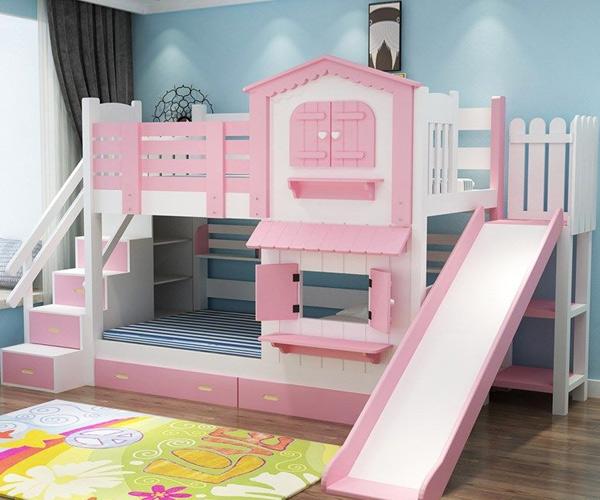 Giường tầng có cầu trượt đẹp cho bé gái