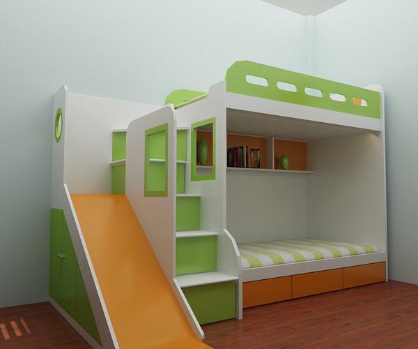 Giường tầng có cầu trượt dành cho 2 bé trai
