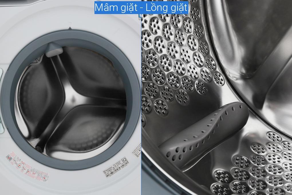 Máy giặt sấy khô không cần phơi Electrolux 8kg/5kg UltimateCare 900 EWW8023AEWA có lồng giặt bằng thép inox
