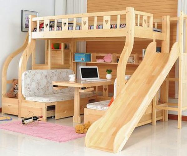 Mẫu giường có kèm bàn học tiện lợi cho bé trai