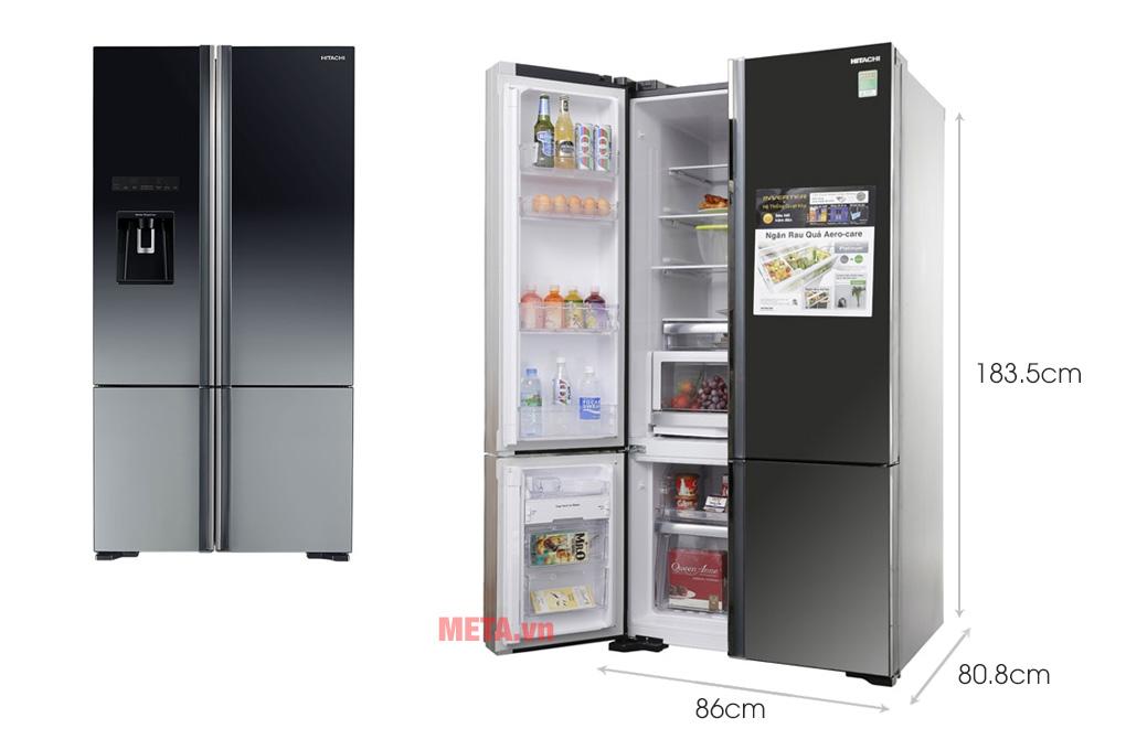 Kích thước tủ lạnh Hitachi Inverter 587 lít R-WB730PGV6X (XGR)