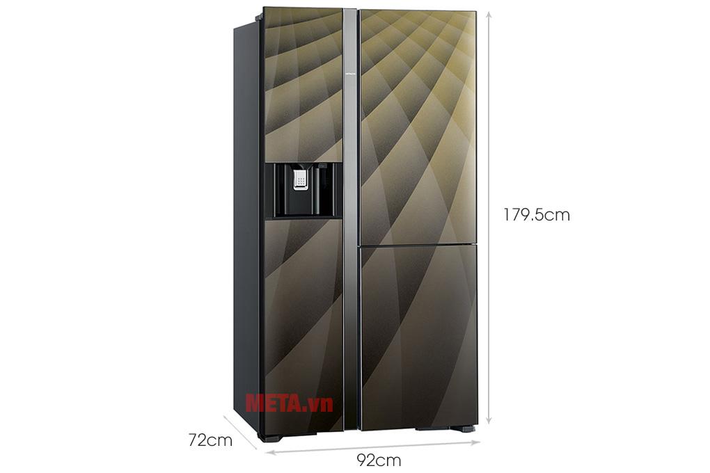 Kích thước Tủ lạnh Hitachi Inverter 569 lít R-FM800XAGGV9X (DIA)
