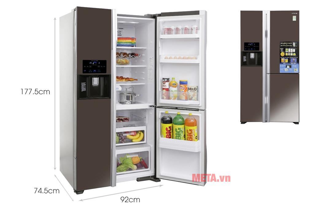 Kích thước Tủ lạnh 584 lít Hitachi R-M700GPGV2X (MBW)