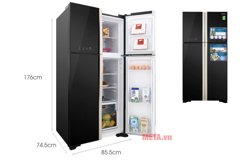 Kích thước tủ lạnh Hitachi inverter R-FW650PGV8(GBK) 509 lít