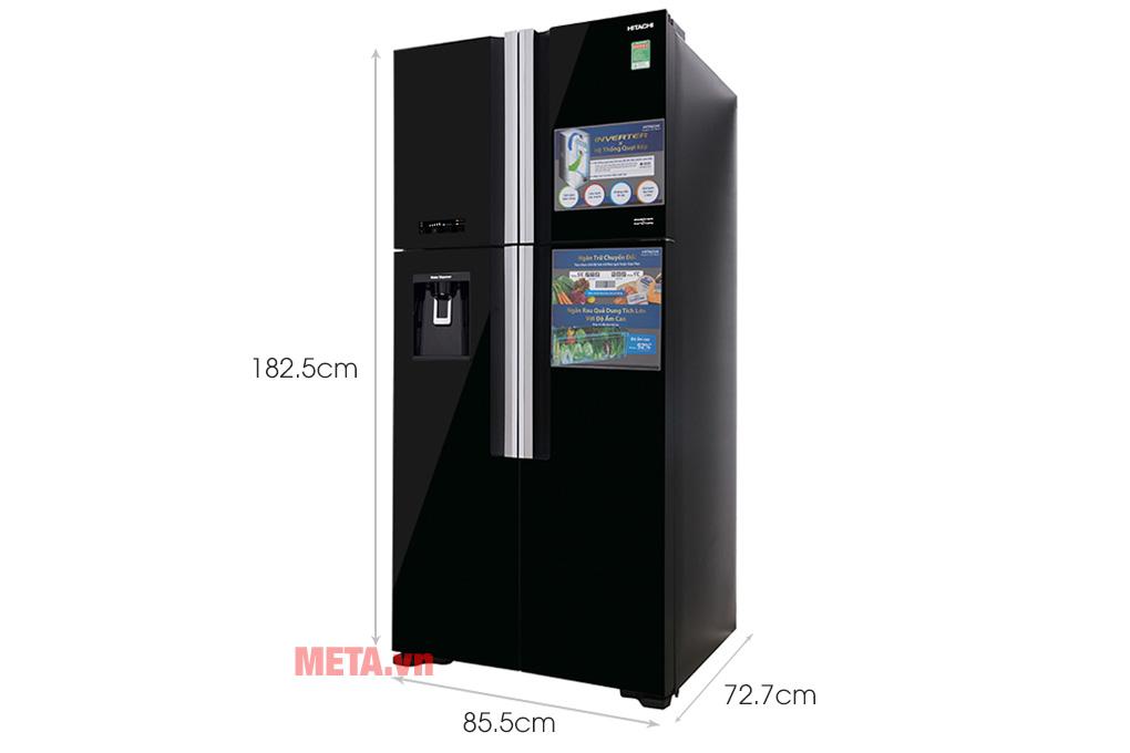 Kích thước tủ lạnh Hitachi R-FW690PGV7X (GBK) 540 lít Inverter