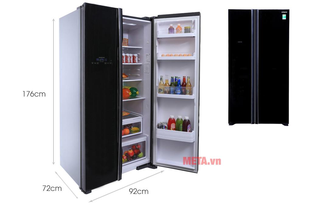 Kích thước tủ lạnh SBS Hitachi R-FS800PGV2 (GBK) 605 lít