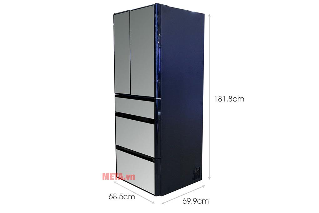 Kích thước tủ lạnh Hitachi Inverter 536 lít R-G520GV (X) - Gương pha lê