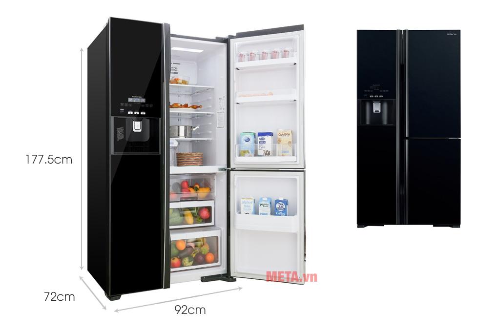 Kích thước tủ lạnh inverter Hitachi R-FM800GPGV2(GBK) 584 lít