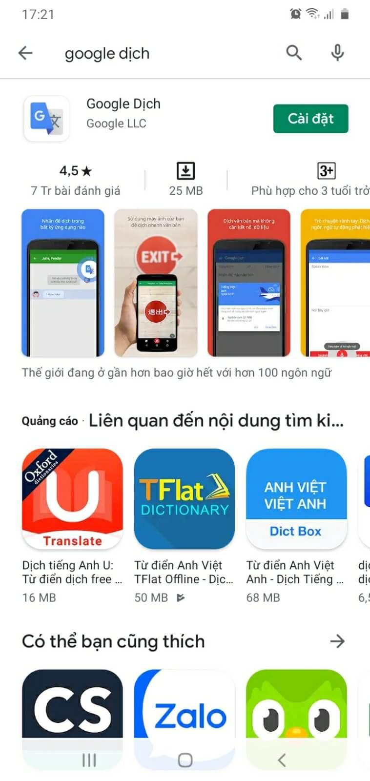 Tải và cài đặt tính năng Google dịch hình ảnh trên điện thoại