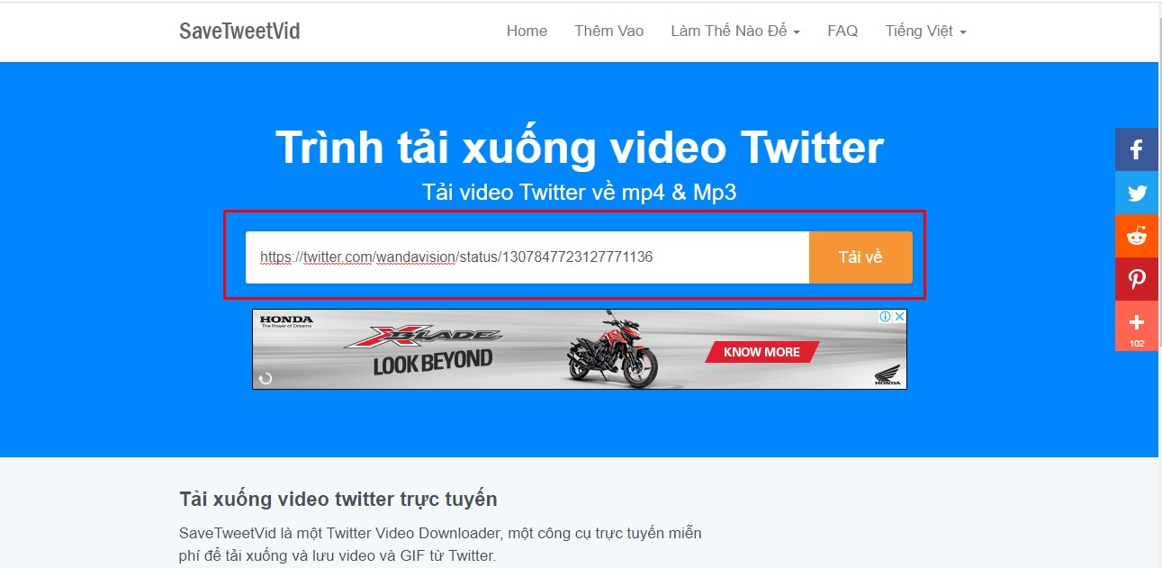 Cách tải video trên Twitter từ SaveTweetVid