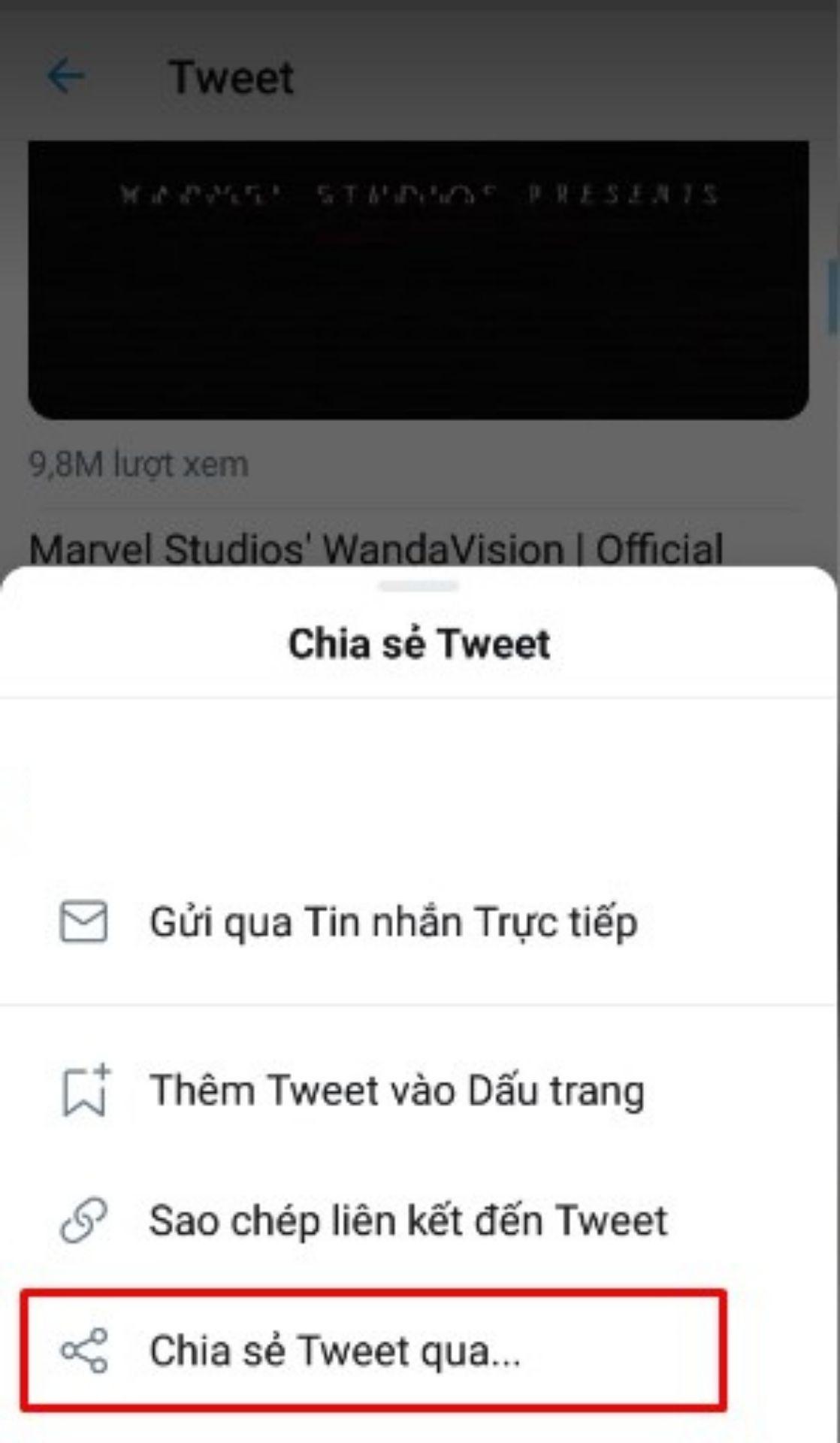 Bấm vào nút được khoanh đỏ để download video Twitter về máy