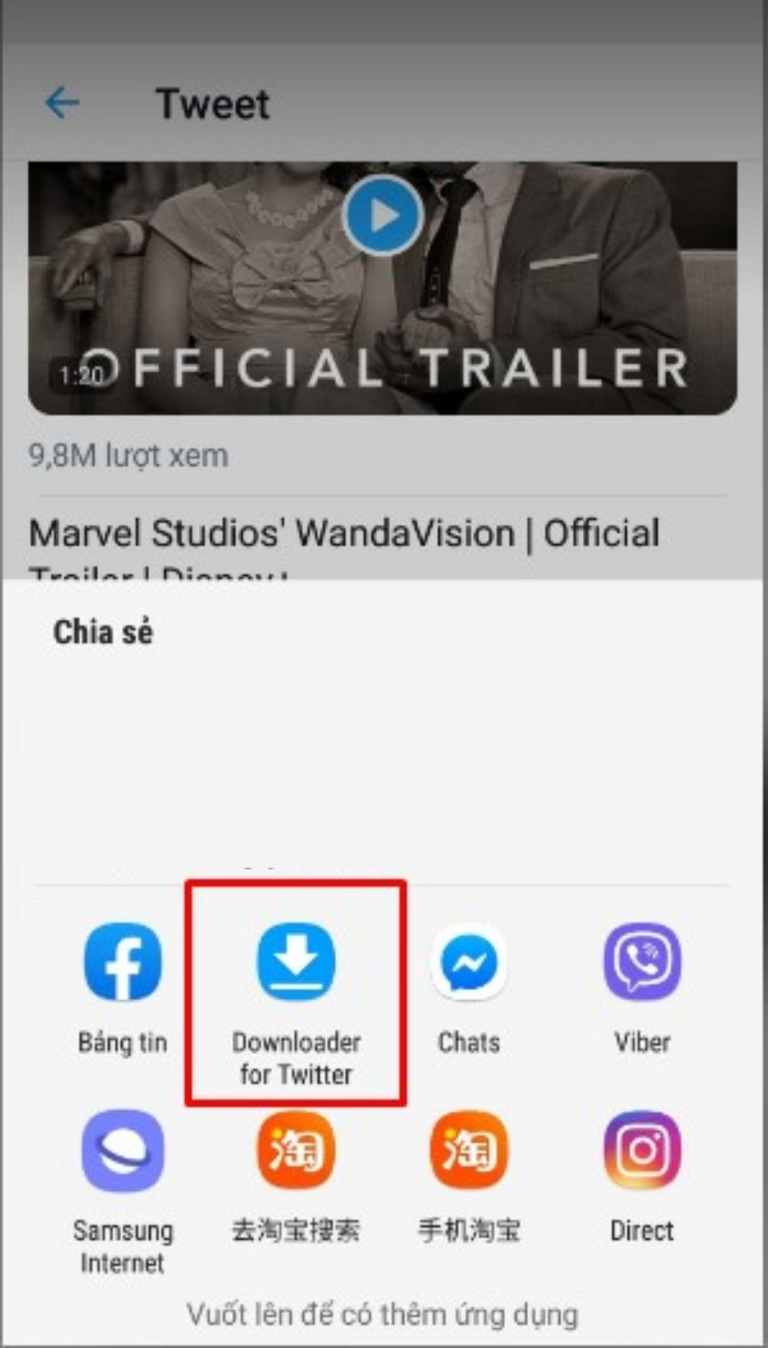 Lựa chọn Downloader for Twitter