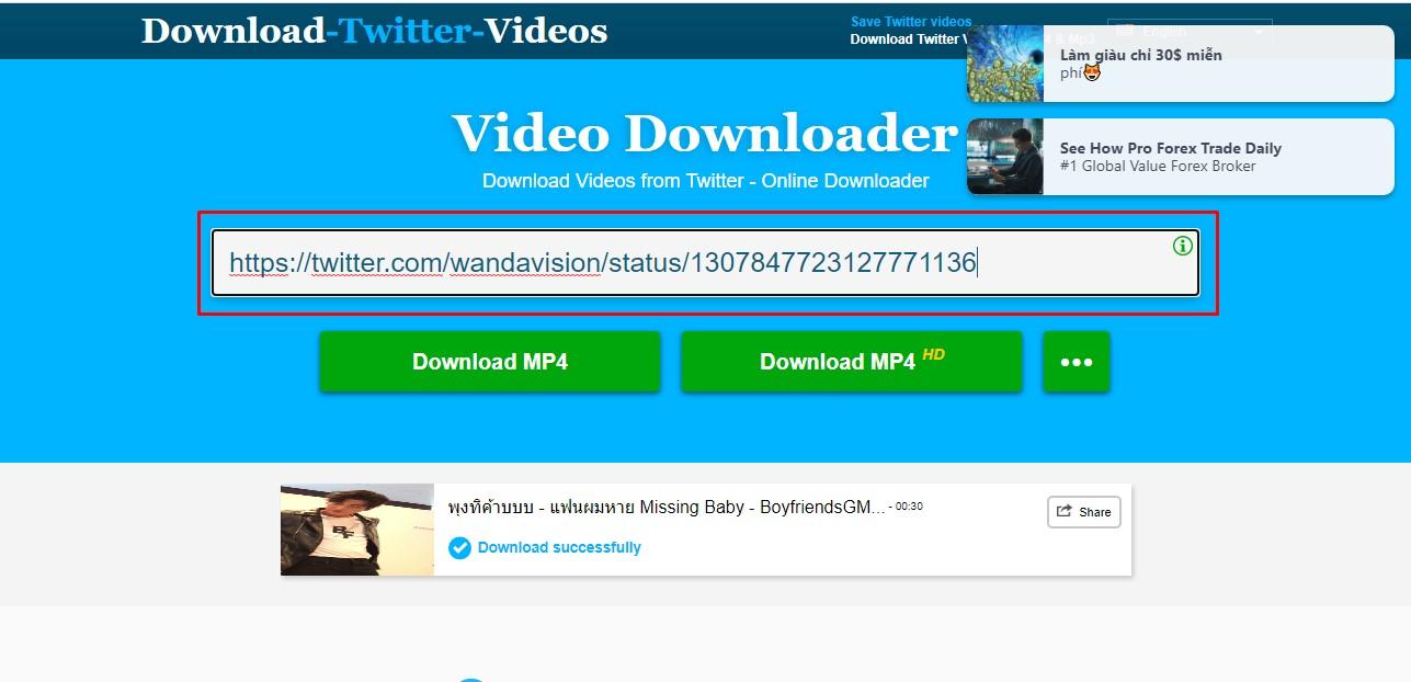 Truy cập vào Download Twitter Videos và paste đường link vào khung bên dưới