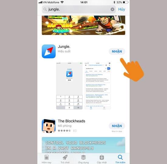 Vào App Store tìm và tải ứng dụng Jungle về máy điện thoại