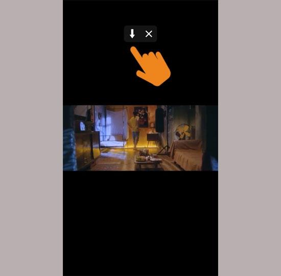 """Mở video và ứng dụng sẽ hiển thị dấu mũi tên """"tải về"""""""