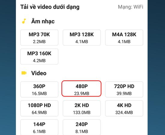 Chọn chất lượng video muốn tải