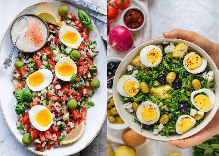 Công thức salad giảm cân với rau củ và trứng luộc