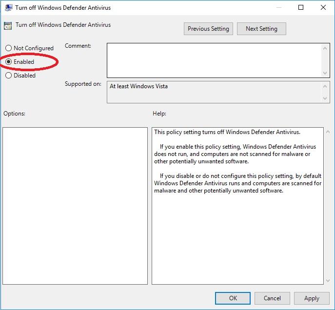 Tắt phần mềm diệt virus bằng Local Group Policy