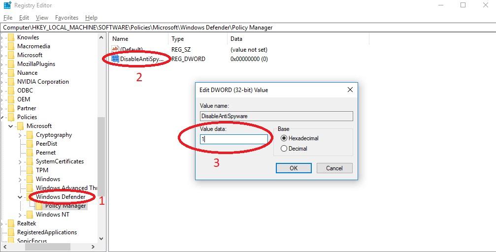 Cách tắt phầm mềm diệt virus Win 10 bằng Registry Editor