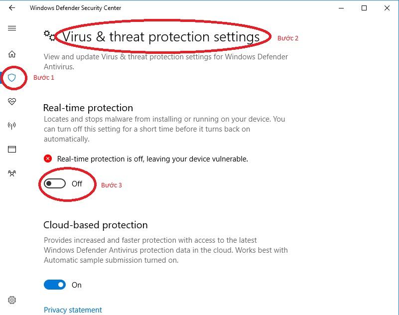 Tắt phần mềm diệt virus Win 10 tạm thời