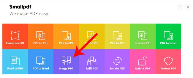 """Truy cập vào website Smallpdf.com -> nhấn vào phần """"Merge PDF"""""""