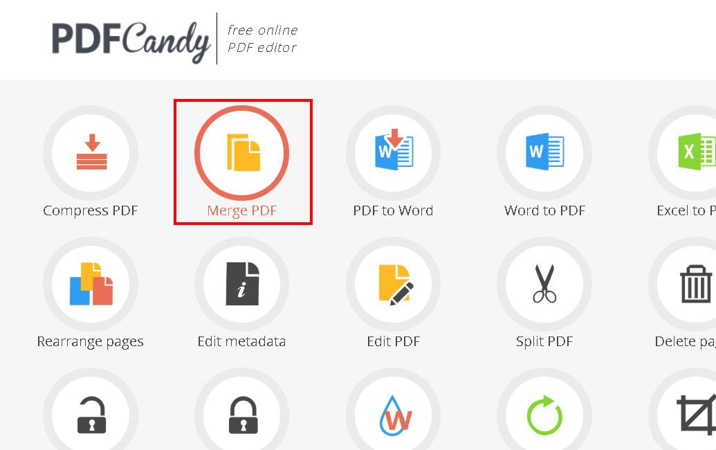 Truy cập vào website Pdfcandy.com -> nhấn chọn Merge PDF