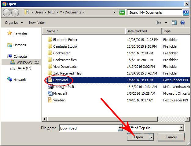 """Lựa chọn các file cần ghép từ cửa sổ windows hiện ra -> nhấn """"Open"""""""