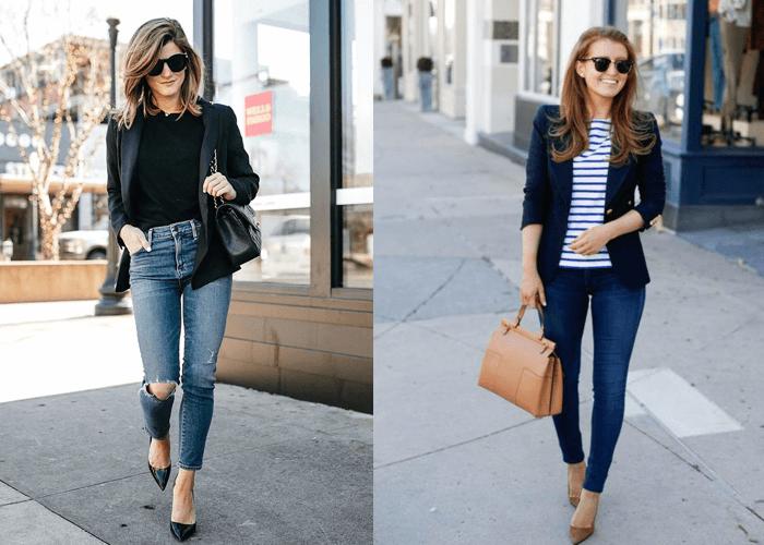Blazer mix với quần jeans