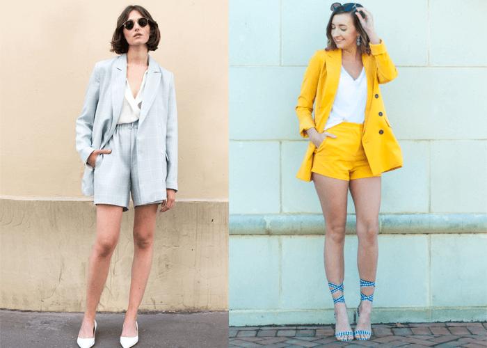 Blazer mix với quần ngắn (shorts)