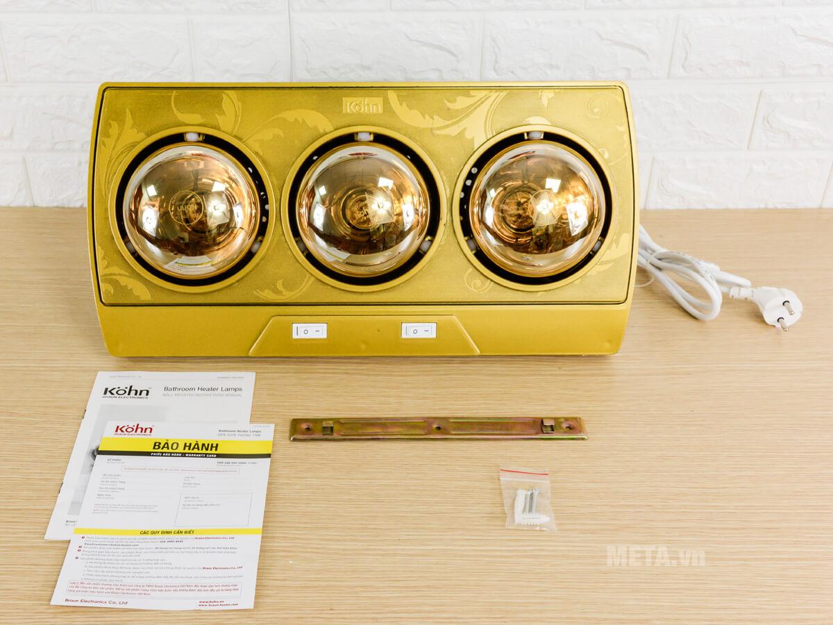 Bộ sản phẩm đèn sưởi nhà tắm Braun Kohn KP03G 3 bóng