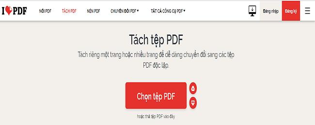 Phần mềm tách file PDF online tại ILOVEPDF