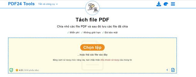 Cắt file PDF online với phần mềm PDF24 Tools