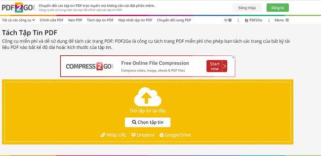 Phần mềm tách file PDF trực tuyến PDF2GO