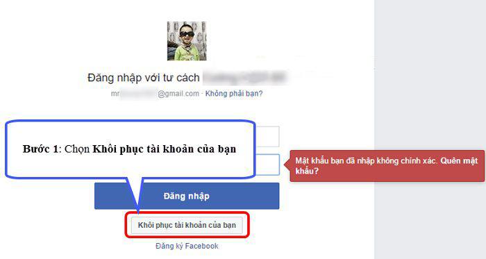 Truy cập vào Facebook.com -> nhấn khôi phục tài khoản