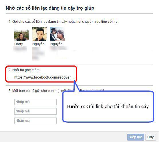 """Gửi đường link """"https://www.facebook.com/recover"""" cho các tài khoản tin cậy"""