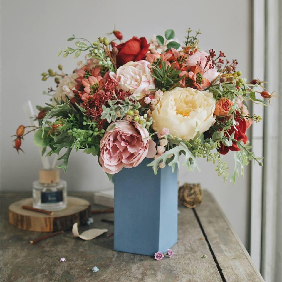 Cách cắm hoa để bàn ngày Tết
