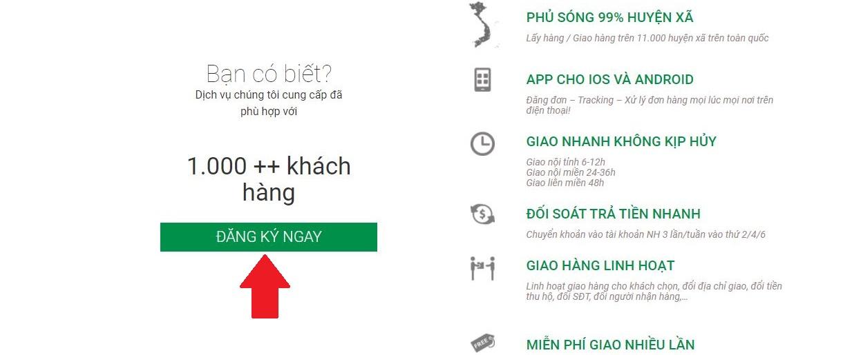 Cách đăng ký dịch vụ gửi hàng trên website GHTK