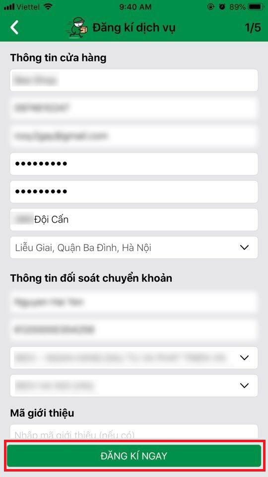 Cách đăng ký dịch vụ gửi hàng trên app GHTK